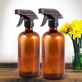 Amber Glass Spray Bottles (2 Pack, 16 oz) - Bonus: 8 Chalk Labels + Pen