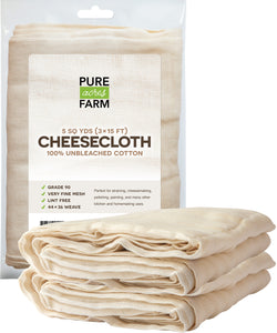 Cheesecloth - 5 Yards - Fine Weave: Grade 90 - 100% Unbleached Cotton - Filter - Strain - Reusable (Cotton String Included)