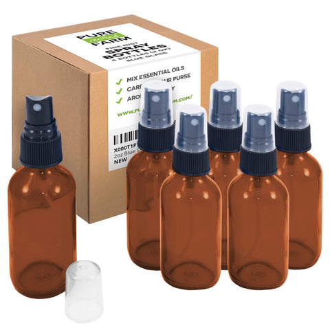 Amber Glass Spray Bottles (4oz) - 6 pack - Small Empty Bottle for Essential Oils and Cleaning Solutions Mist