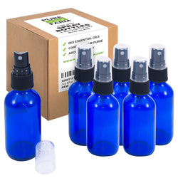 Blue Glass Spray Bottles (4oz) - 6 pack - Small Empty Bottle for Essential Oils and Cleaning Solutions Mist