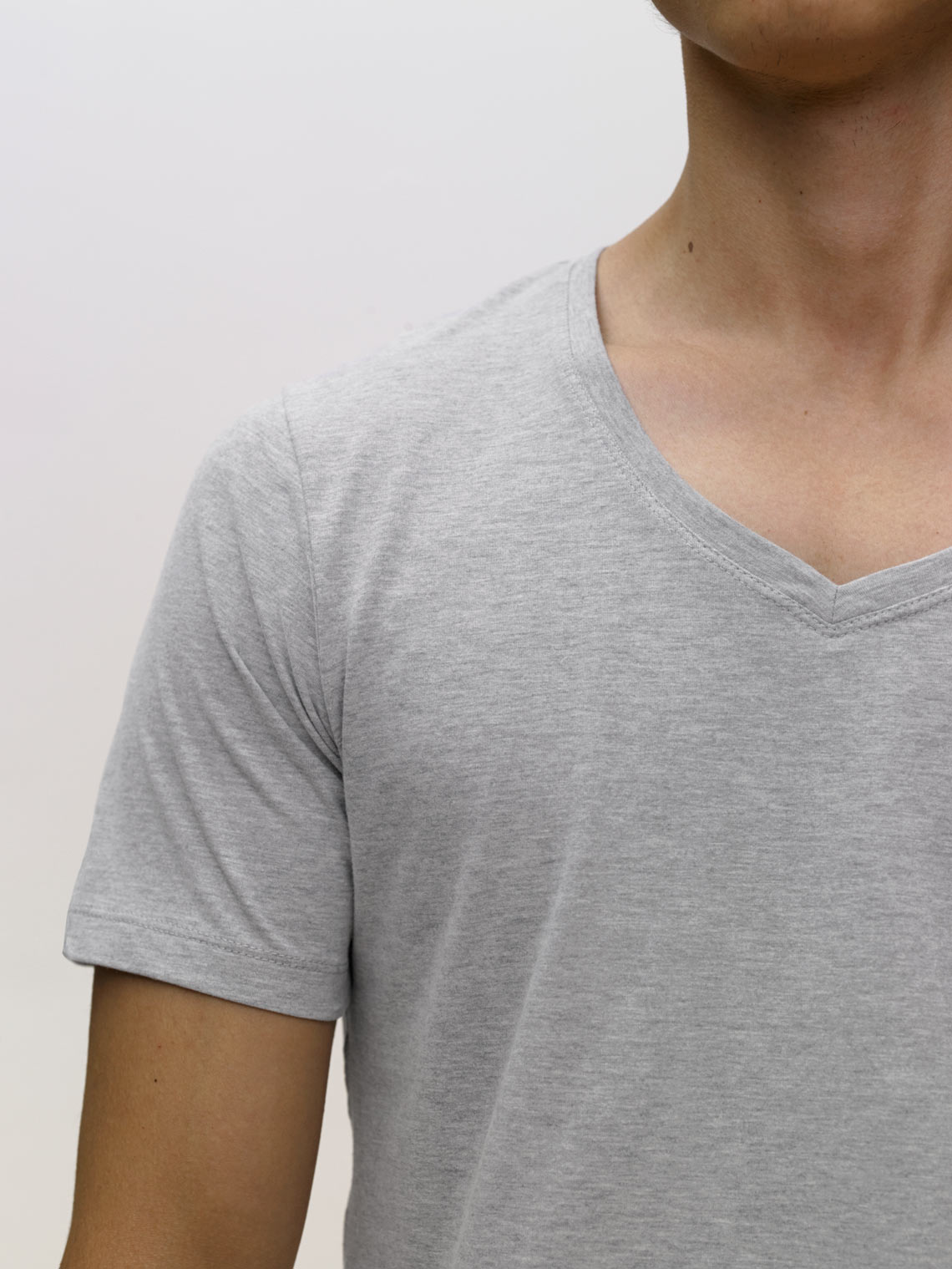 Product Shot of the The V-Neck in Heather Grey