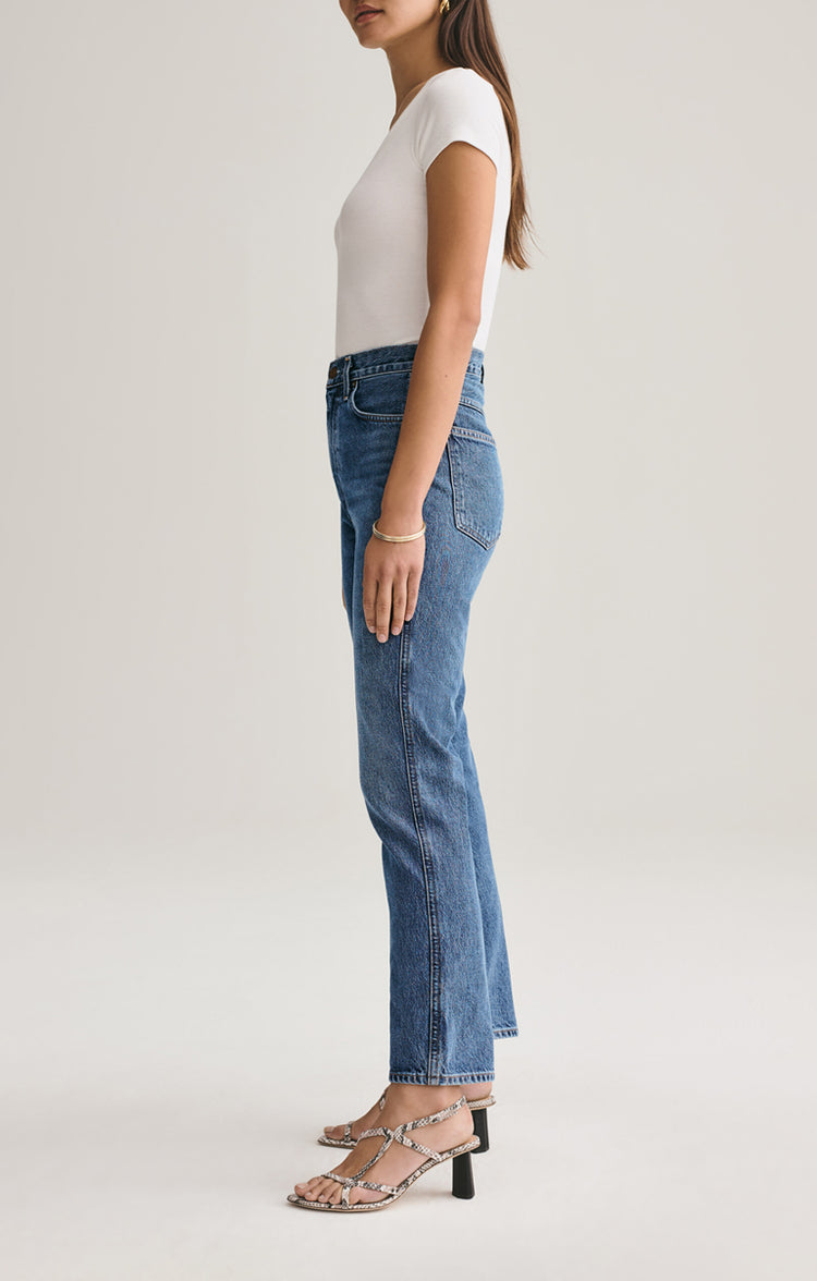 Agolde Pinch Waist High Rise Kick Jean in Placebo Placebo