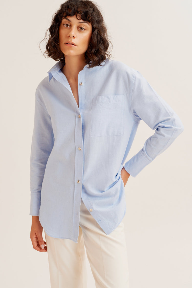 Oversized Oxford Light Blue