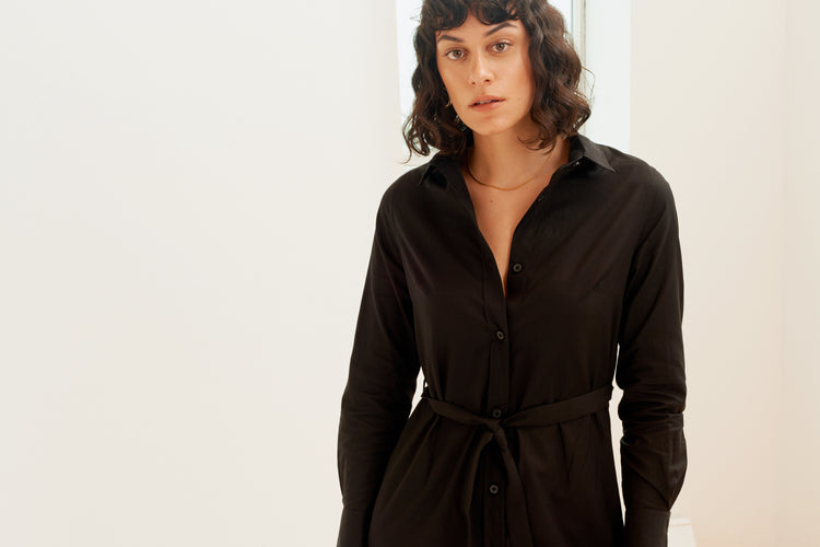 Shirt Dress in Black Black