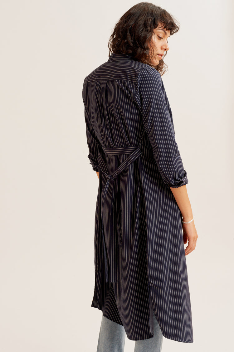 Shirt Dress Navy Pin Stripe