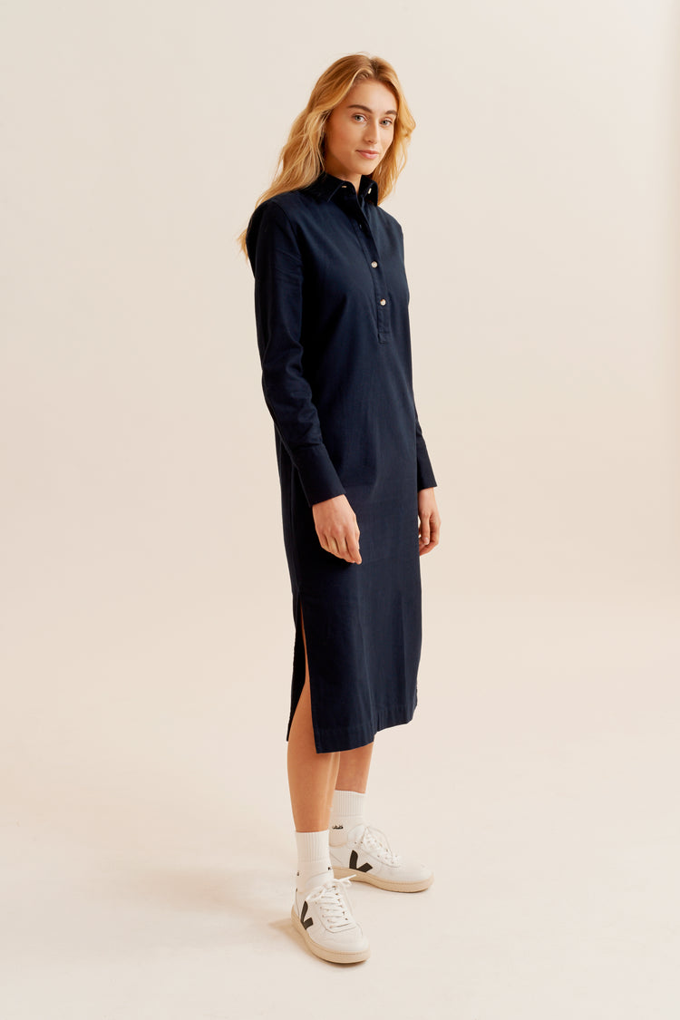 Flannel Popover Dress Navy