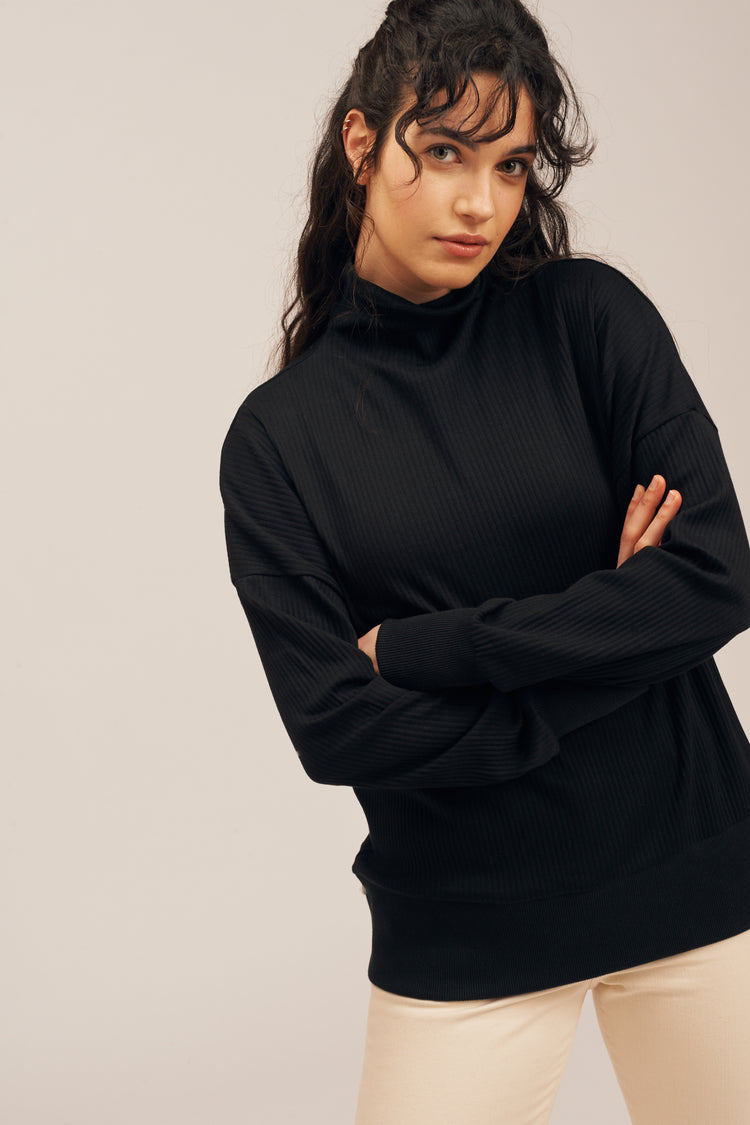 Funnel Neck Sweater Black