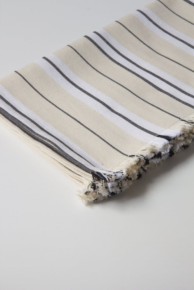 Napkin & Placemat Set in Black and Cream Stripe