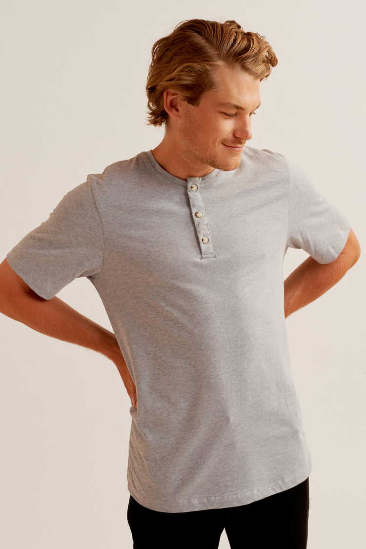 Shortsleeve Henley in Heather Grey Heather Grey
