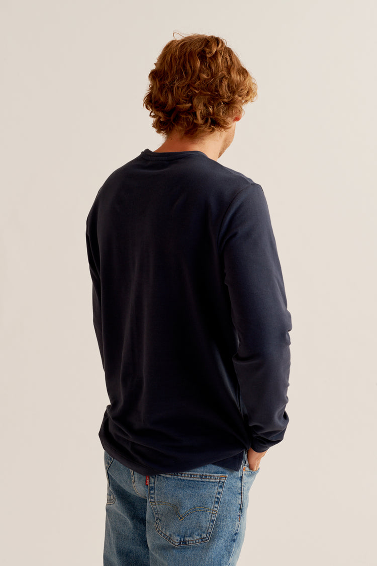 Longsleeve Piqué Washed Navy