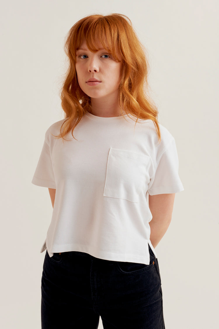 Cropped Piqué T-Shirt White