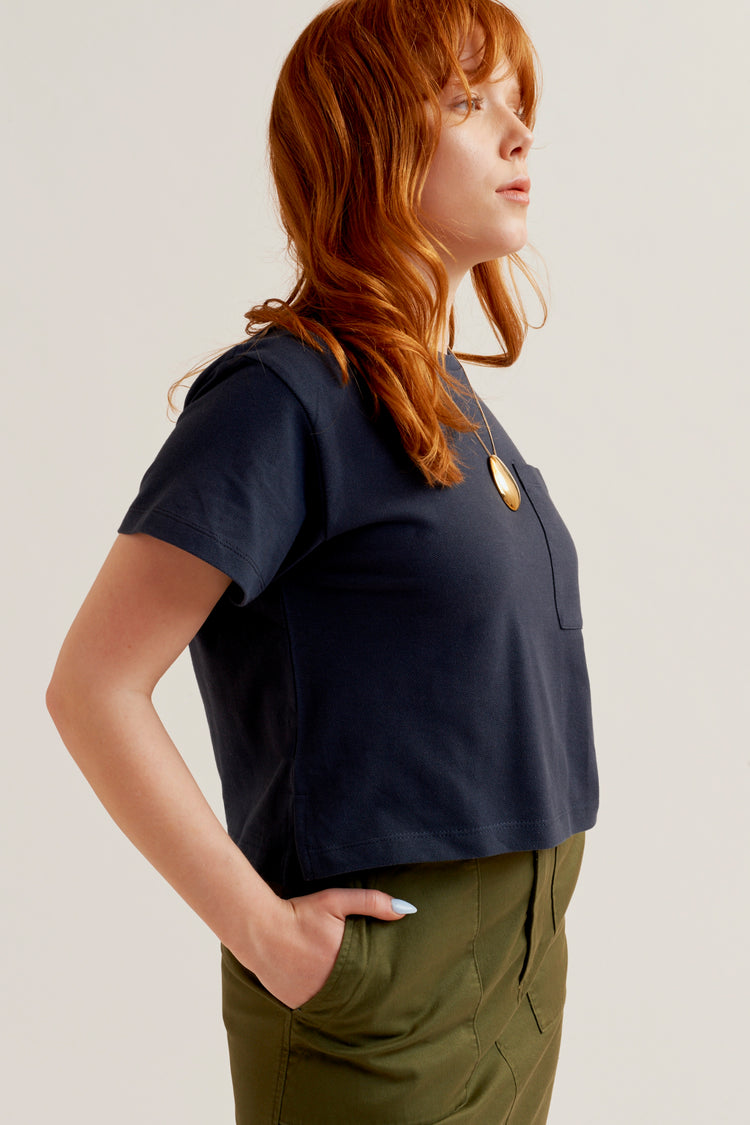 Cropped Piqué T-Shirt Navy