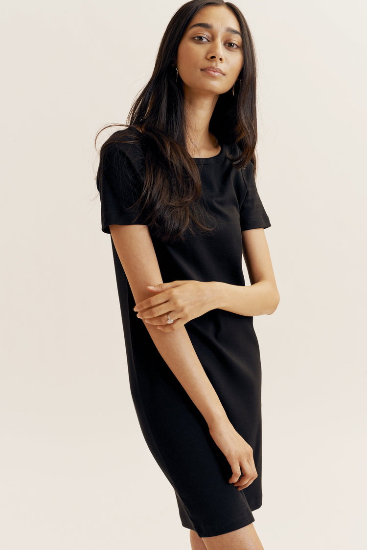 Boat Neck T-shirt Dress Black