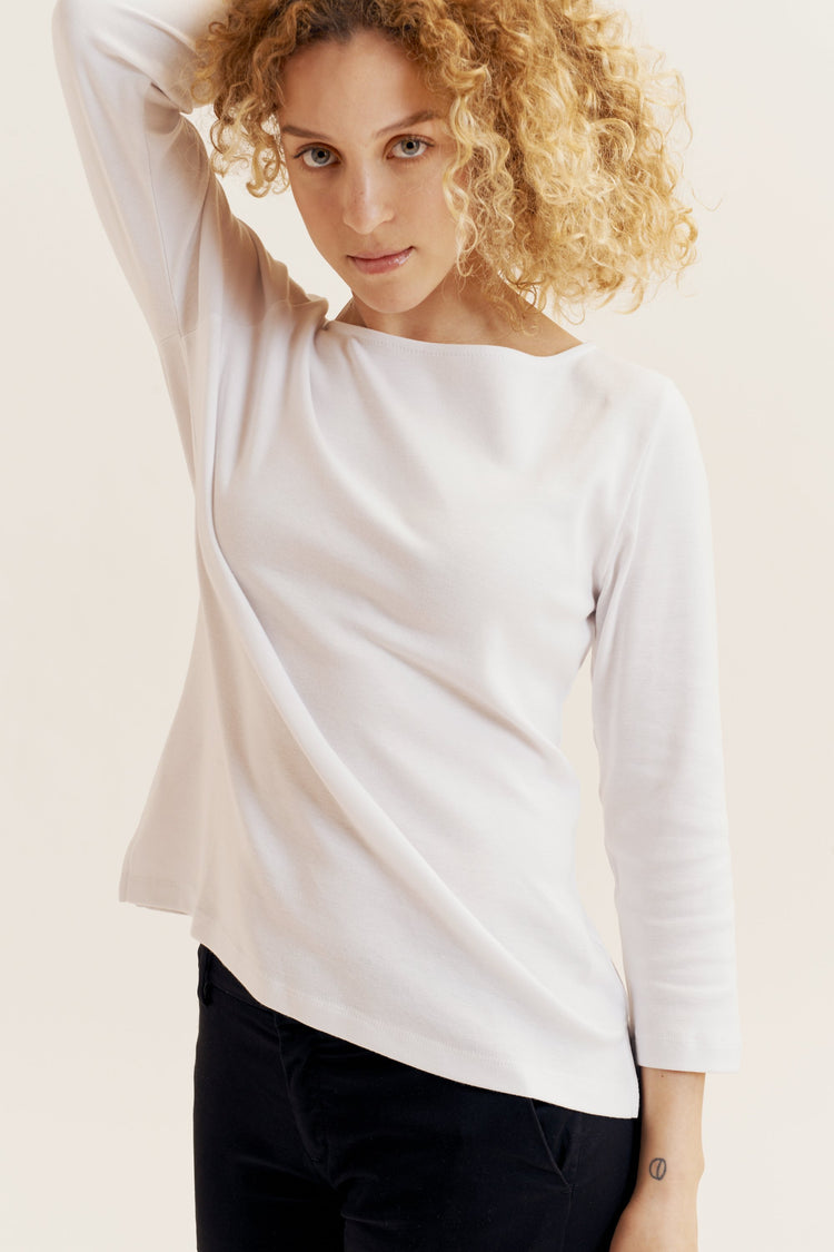 Boat Neck Top White