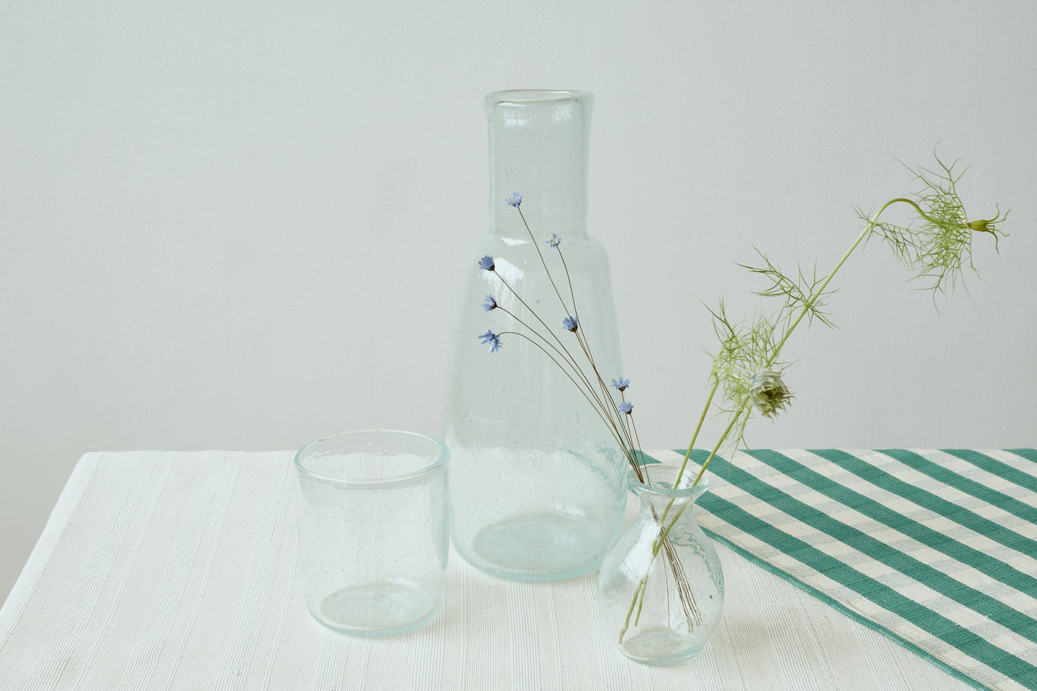 Glass Carafe and Cup Set in Sky