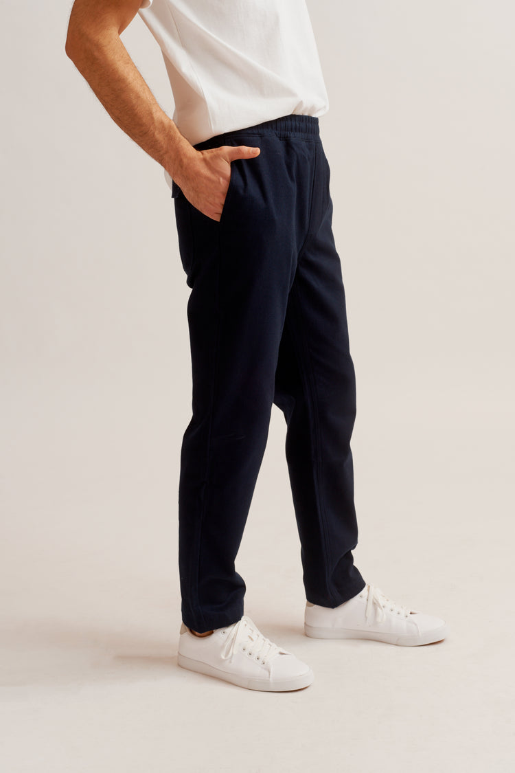 Drawstring Flannel Pant Navy