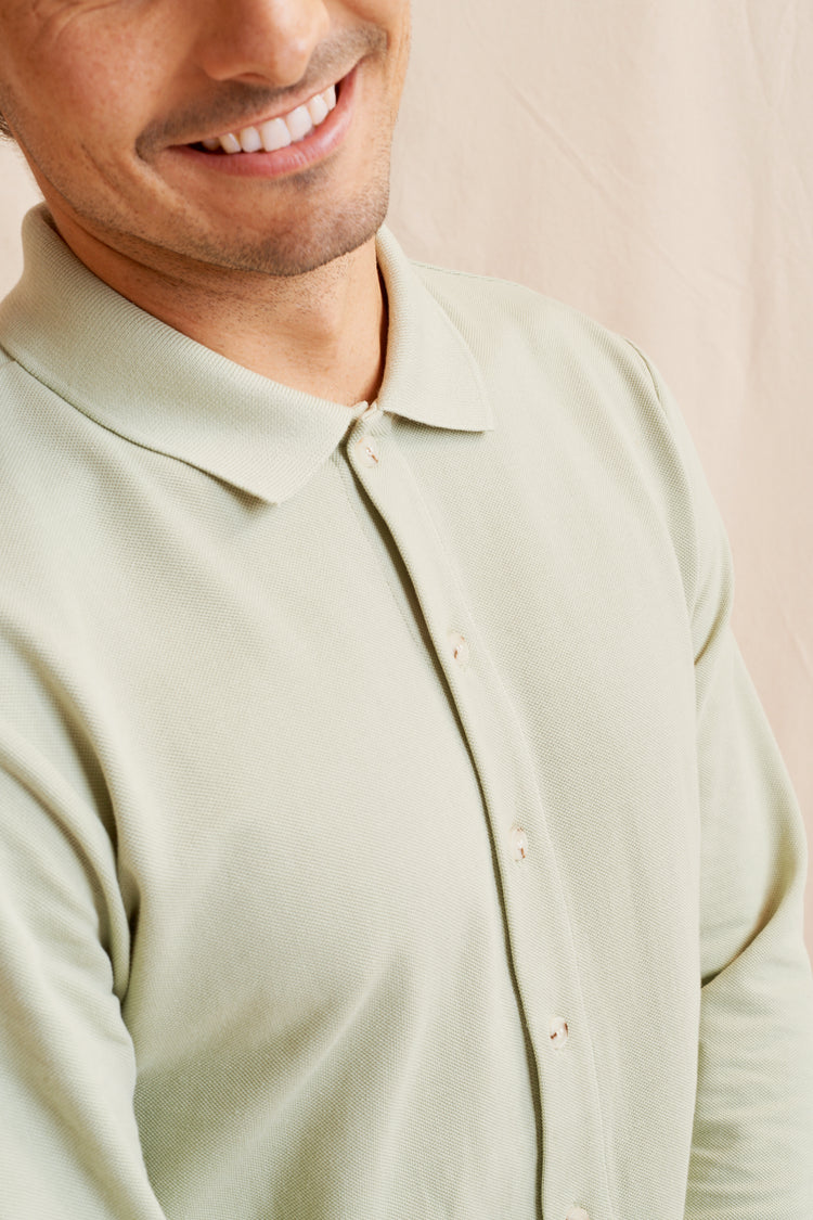 Longsleeve Piqué Button-up Moss