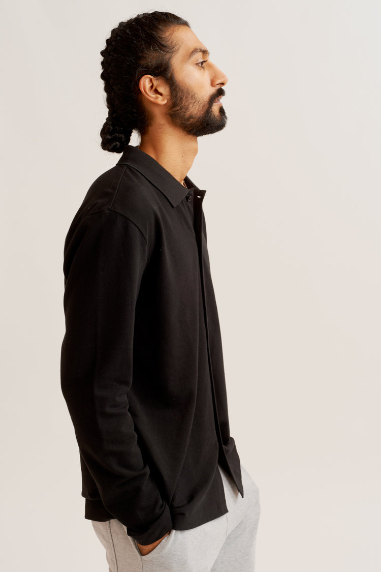 Longsleeve Piqué Button-up Black