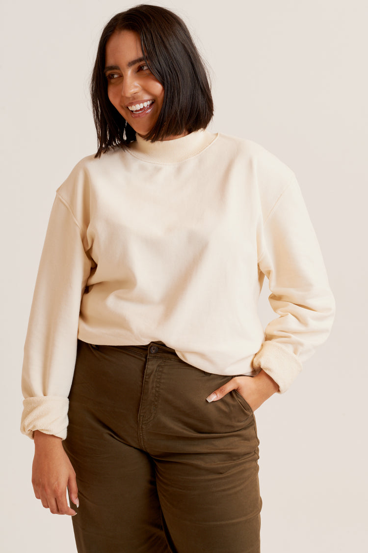 Mock Neck Sweatshirt Alabaster