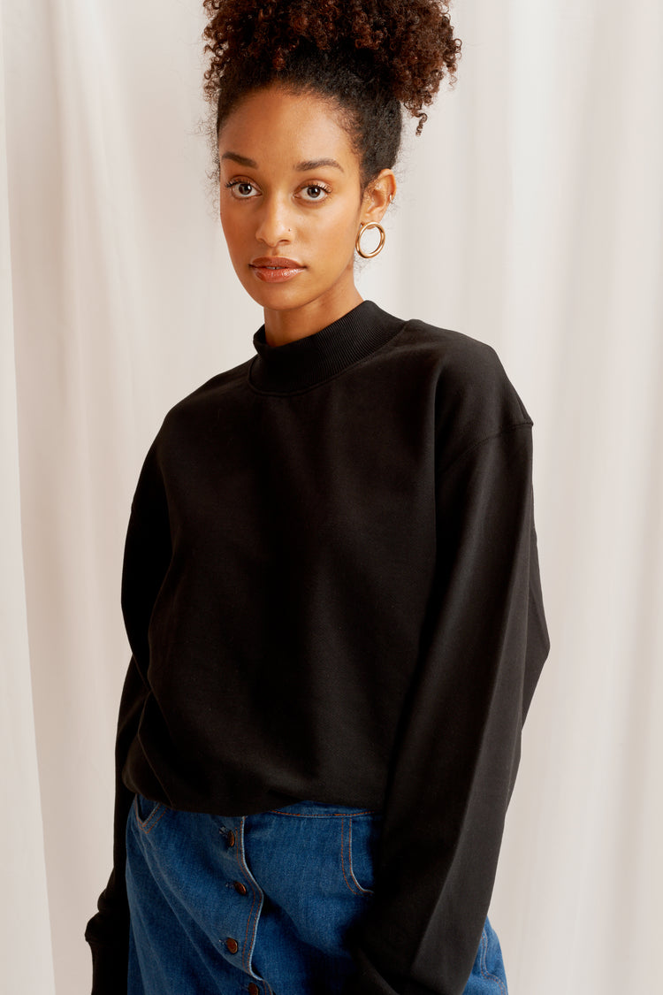 Mock Neck Sweatshirt Black