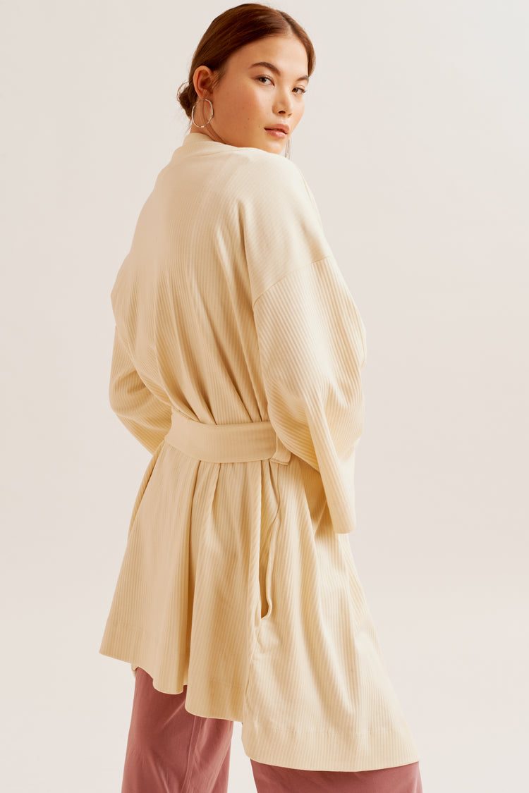 Ribbed Robe Alabaster