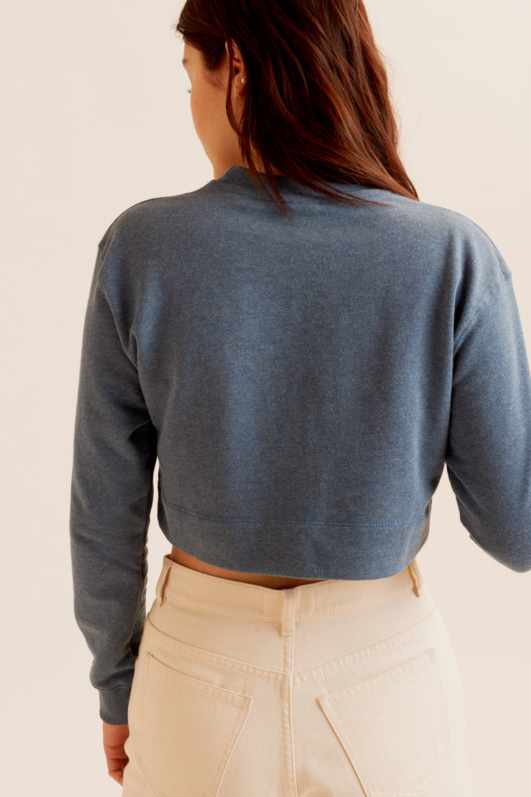 Cropped Sweatshirt Dusty Blue
