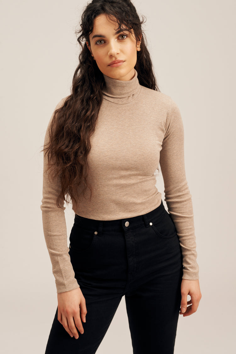 Fitted Turtleneck Taupe Melange