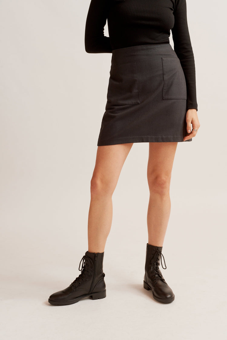 Flannel Mini Skirt charcoal melange