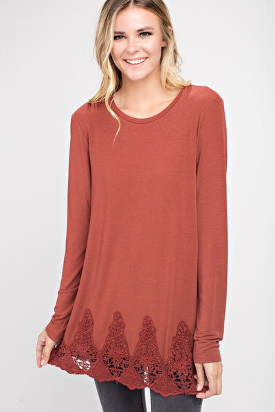 Mittoshop Knit Top with Lace Hem Marsala - Enclothe Boutique