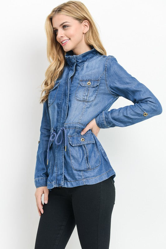 Chambray Tencel Jacket - Enclothe Boutique