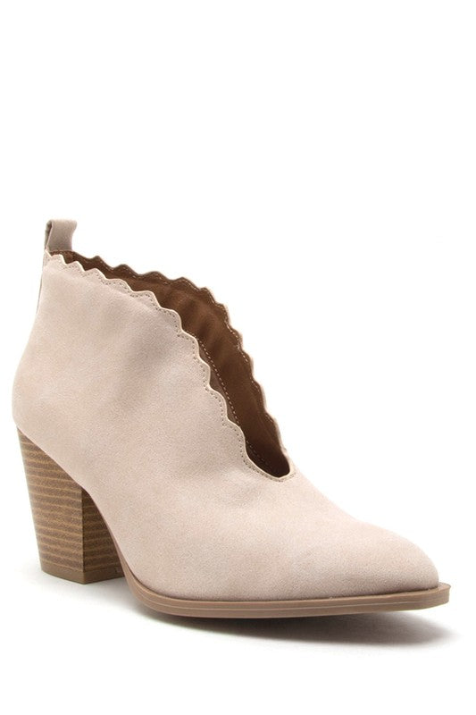 Scallop Booties in Ivory - Enclothe Boutique