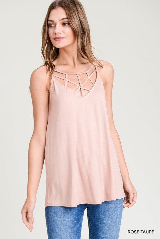 Cross Front Tank in Rose Taupe - Enclothe Boutique