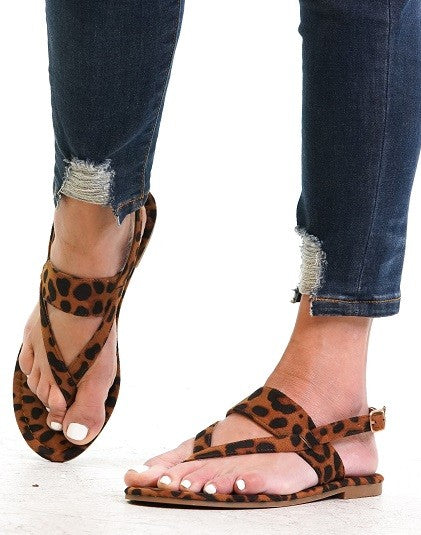 Strappy Sandals in Leopard - Enclothe Boutique