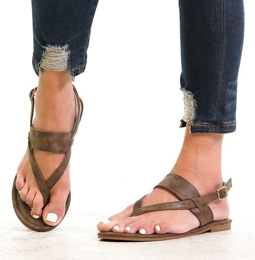Strappy Sandals in Brown - Enclothe Boutique