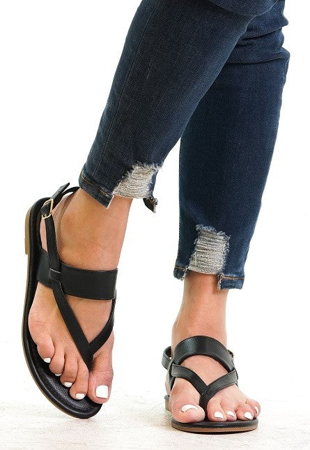 Strappy Sandals in Black - Enclothe Boutique