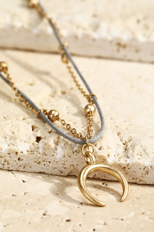 Layered Crescent Horn Necklace - Enclothe Boutique