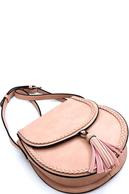 Blush Crossbody with Tassel Accent - Enclothe Boutique
