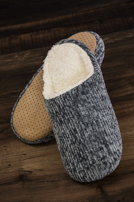 Fur Lined Chenille Slippers in Charcoal - Enclothe Boutique