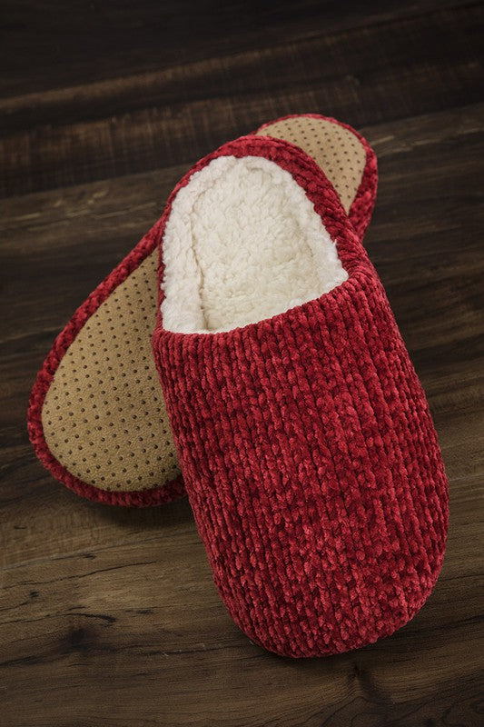 Fur Lined Chenille Slippers in Burgundy - Enclothe Boutique