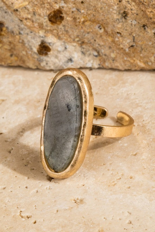 Natural Stone Oval Ring - Enclothe Boutique