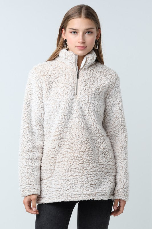 Sherpa Pullover in Tan - Enclothe Boutique