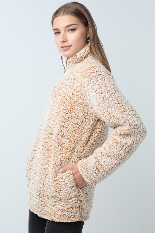 Sherpa Pullover in Mustard - Enclothe Boutique