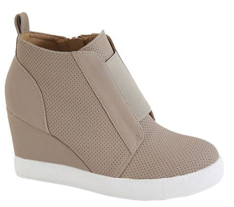 Wedge Sneakers in Taupe - Enclothe Boutique