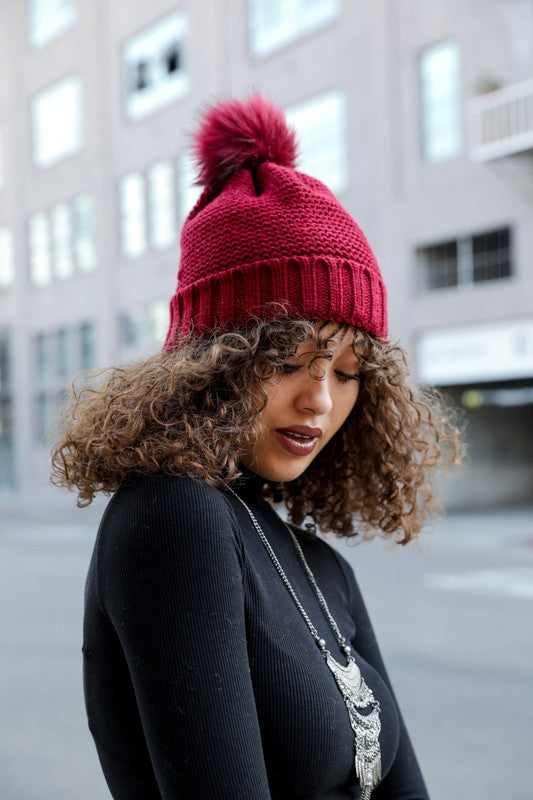 Pom Beanie with Fur Lining in Burgundy - Enclothe Boutique