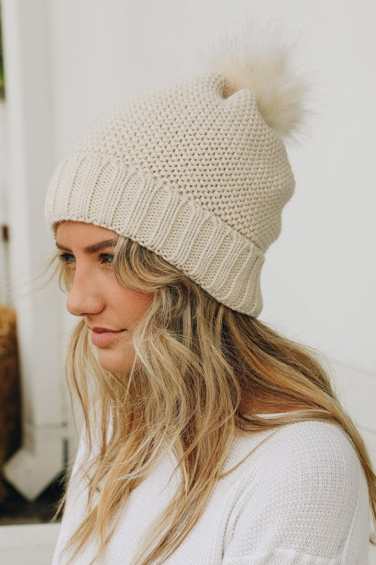Pom Beanie with Fur Lining in Ivory - Enclothe Boutique