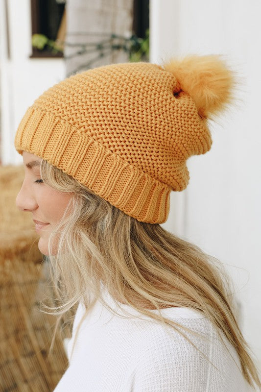 Pom Beanie with Fur Lining in Mustard - Enclothe Boutique