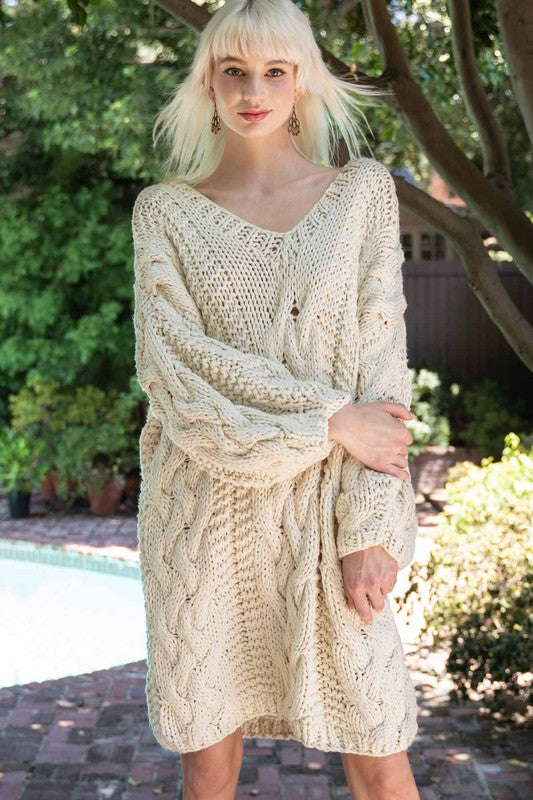 Blanket of Snow Handmade Chunky Knit Sweater Dress - Enclothe Boutique