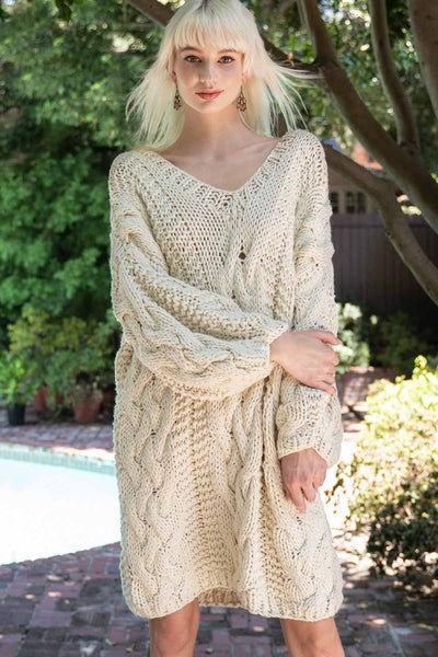 Blanket of Snow Handmade Chunky Knit Sweater Dress