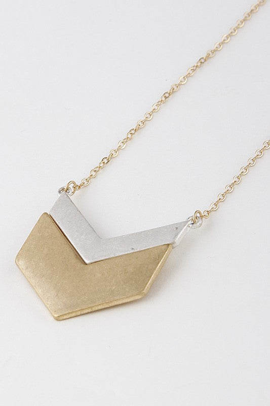 Mixed Metal Chevron Necklace - Enclothe Boutique