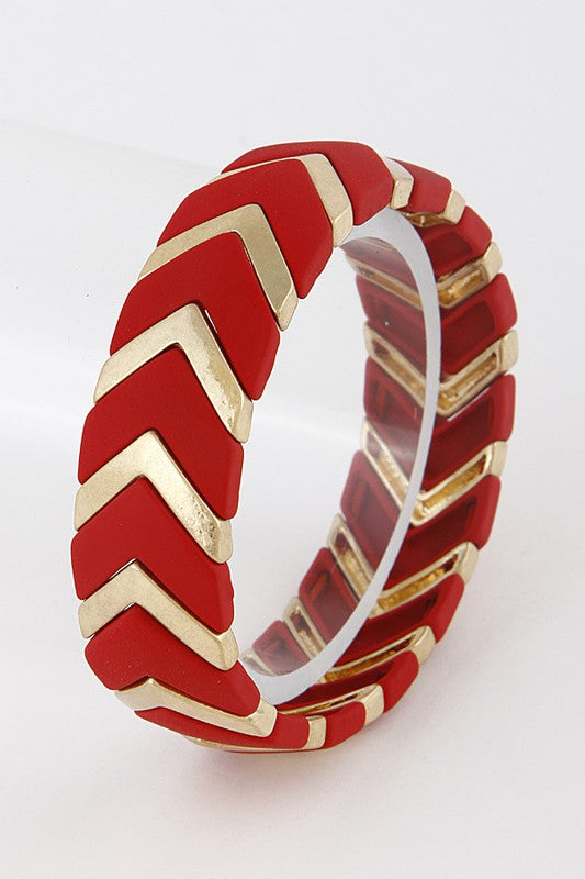 Red & Gold Chevron Stretch Bracelet - Enclothe Boutique